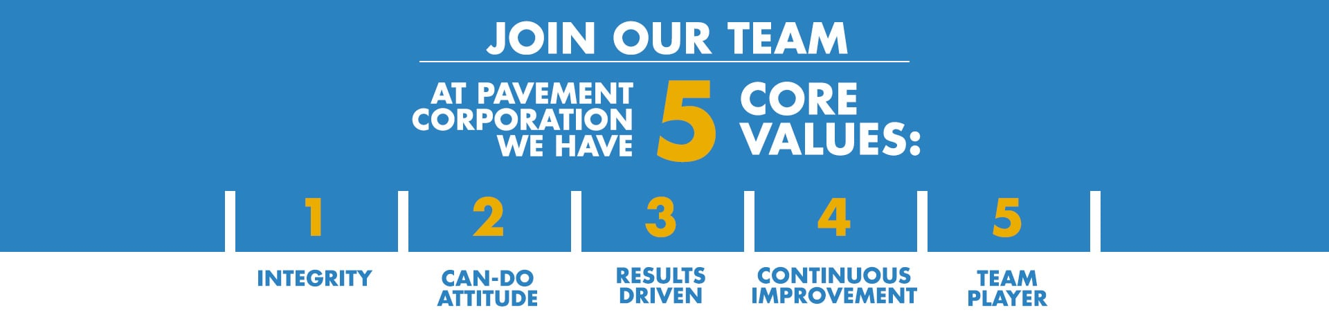 5 Core Values at Pavement Corporation